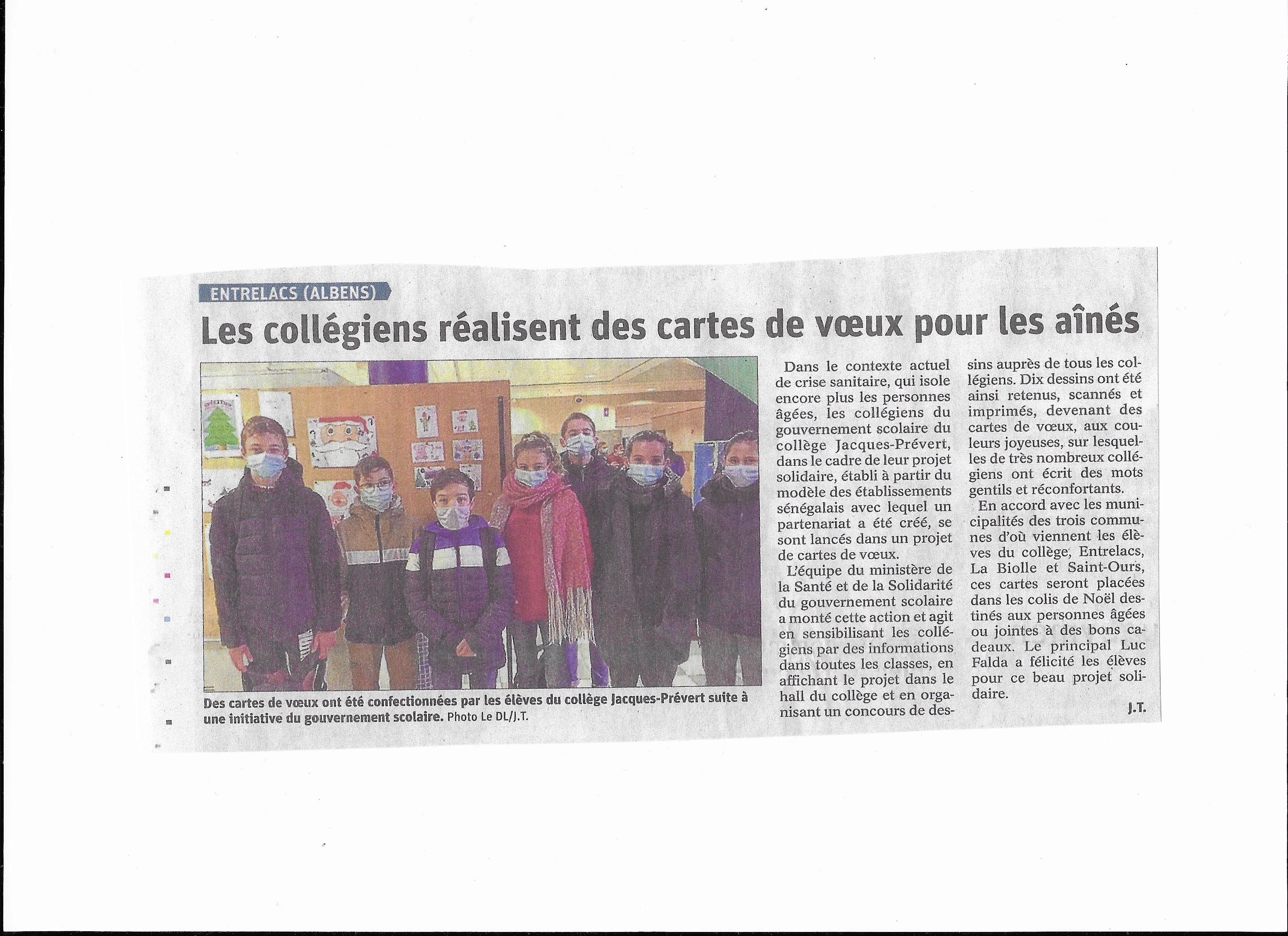 Article du Dauphiné Libéré - 16/12/2020